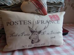 10% Discount Christmas Sale, French Stag Cream Christmas in Paris N0 25 December Postes France calico cushion, pillow, bolster