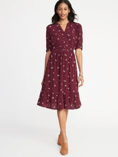 e96606ee8da Waist-Defined Shirt Dress for Women | Old Navy Navy Dress Outfits, Old Navy
