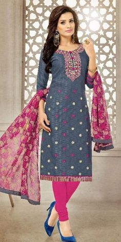 Likeable Grey Cotton Straight Suit With Dupatta.