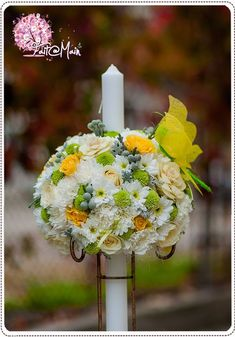 Locate the special Spiritual Unification Candles for use in wedding ceremonies as a type of word of commitment and solidarity. Altar Decorations, Christening, Flower Designs, Wedding Ceremony, Baby Shower, Candles, Yellow Weddings, Handmade, Weeding