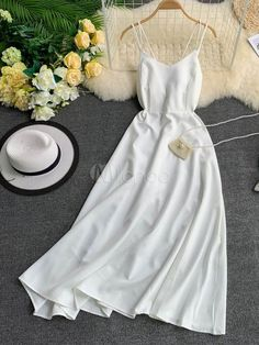 Maxi Slip Dresses Sleeveless Red Floor Length Dress For Women Cute Casual Outfits, Pretty Outfits, Pretty Dresses, Beautiful Outfits, Casual Dresses, Slip Dresses, Sleeveless Dresses, Girls Fashion Clothes, Teen Fashion Outfits