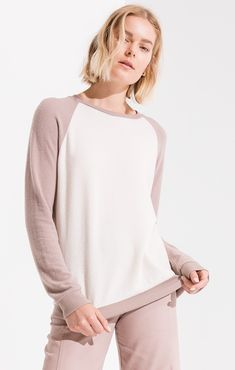 d7b64cecb36b THE SOFT SPUN KNIT RAGLAN PULLOVER  zsupply Mauve