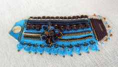 Freeform Crochet Bracelet Cuff in Blue Brown with Flowers