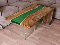 Waterfall live edge river coffee table with plexiglass leg and