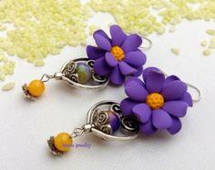 Flower Earrings, Handmade Earrings, Lilac, Spring Jewelry,Dangle Earrings,Floral Fashion,Statement Earrings,Gift For Her,Anemone, Windflower