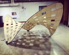 Doubly-curved woven pavilion made entirely from flat plywood strips. How I spent…: