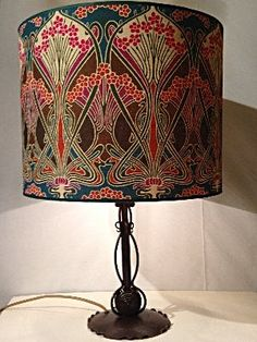 Table lamp Art Nouveau around 1915 designer unknown wrought iron and liberty fabric. Amsterdam, Art Nouveau, Chandelier, Antique Lighting, Liberty Fabric, Wrought Iron, Table Lamp, Homes, Antiques