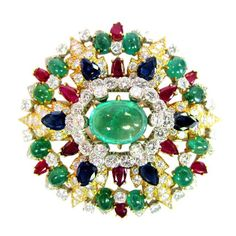 RosamariaGFrangini   HighJewellery Classic   TJS   David Webb Diamond, Ruby, and Emerald Brooch - Rare