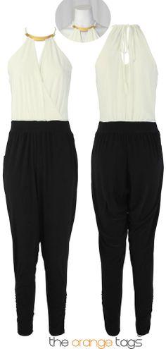 94967310af54 Girls womens halterneck hareem jumpsuit ladies bar neck all in one jumpsuit