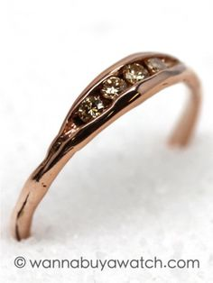 "14K Pink Gold & Yellow Diamonds. 14K PG ""pea pod"" with 4 round brilliant cut yellow diamonds 0.11ctw. Created by LA based designer Liza Shtromberg exclusively for WBAW? Soft and organic lines. An inspired marriage of antique and modern."