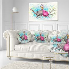 Designart 'Two Birds in Love on Branch' Abstract Throw Pillow