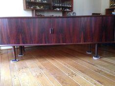 Danish Modern Long Rosewood Credenza by Kofod Larsen Danish Modern, Glass Door, Credenza, Wood Grain, Cabinet, Storage, Room, Furniture, Denmark