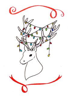 Christmas Calligraphy - free downloadable Christmas cards, hand-drawn stag with lights