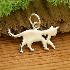 Sterling Silver Silhouetted Cat Charm