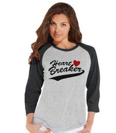 Ladies Valentine Shirt - Womens Heart Breaker Valentines Day Shirt - Valentines Gift for Her - Funny Happy Valentine's Day - Grey Raglan