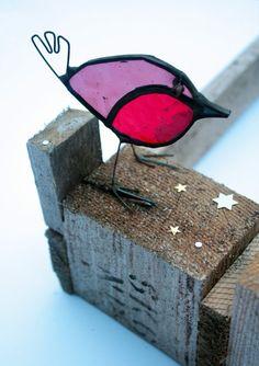 ROBIN de vidrio - vidrieras Robin - regalo hecho a mano - decoración - ventana, manto ornamento de la Navidad - decoración de la capa de pie