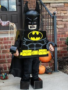 "The finished lego batman costume. I ran out of time, but would like to revisit the helmet. My little Maddox loved it and was the talk of the ""trunk or treat"" last night"