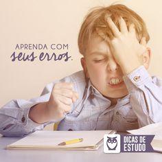 Não se cobre por seus erros. Aprenda a vencer suas dificuldades estudando ainda mais! #dicas #estudos #erros #concursos #aprenda