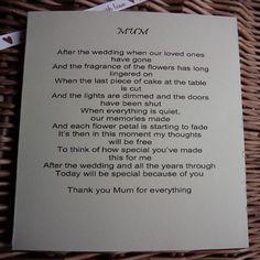To my Mum on my wedding day Wedding day by WendysWeddingCorner
