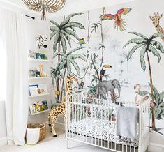 Wallpaper JUNGLE tonal colors - Unique design - premium quality Wallpaper Jungle, Kids Wallpaper, Unique Wallpaper, Print Wallpaper, Baby Nursery Wallpaper, Wallpaper Size, Paper Wallpaper, Jungle Nursery Boy, Jungle Bedroom