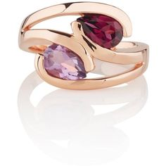Manja - Amethyst & Rhodolite Love Birds Ring Rose Gold (325 BGN) ❤ liked on Polyvore featuring jewelry, rings, rose gold jewelry, polish jewelry, rose jewelry, rose gold amethyst ring and heart shaped rings