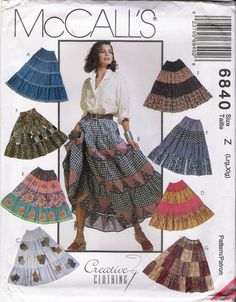 Imagine this with different skirt fabrics!   Womens Patterns Patchwork Skirt Pattern Broomstick by YacketUSA, $7.70