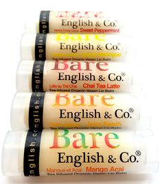 Bare English & Co. #new #fall #flavour lineup!  Organic . Vegan . Tea Infused . Lip Balm