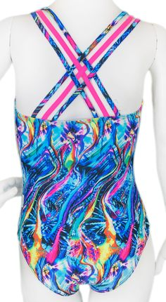 Electric Ribbons Woven Gymnastics Leotard (Alternate View)