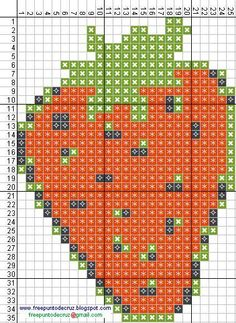 Strawberry hama perler beads pattern - Dibujos Punto de Cruz