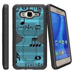 Samsung Galaxy J1 (2016), Amp 2, and Express 3 Case [MAX DEFENSE] by Miniturtle® - 2 Layer Hard Case Exterior Shock Resistant Corners Smooth Slim Clip - Blue Musical Notes