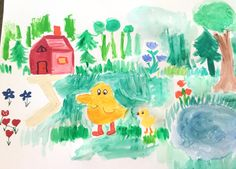 Father Duck and baby duck Lake Red house Forest by LilyMoonsigns
