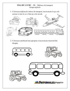 FISE de lucru cu Mijloace de Transport - Grupa mijlocie - DS - Cunoasterea… Motor Skills Activities, Youth Activities, Preschool Education, Preschool Worksheets, Preschool Activities, Kindergarten, Transportation Theme, Printable Numbers, Beading Patterns
