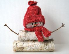 Wisconsin Birch Wood Log Snowman with hat & by WisconsinBirches