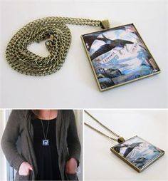 Large Bronze Photo Necklace w/ Extra Long 30 Inch Dangling Chain