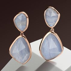Striking Siren Cocktail #earrings in the cool colour of Blue Lace Agate, new from #MonicaVinader for SS16. Silver Earrings, Pearl Earrings, Drop Earrings, Luxury Jewelry Brands, Blue Lace Agate, Statement Rings, Ss16, Jewels, Gemstones