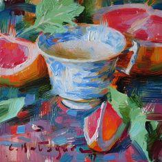 "Daily Paintworks - ""Antique Cup and Grapefruit"" - Original Fine Art for Sale - © Elena Katsyura Tea Cup Art, Tea Cups, Kitchen Art, New Artists, Fine Art Gallery, Painting Inspiration, Art For Sale, Grapefruit, Antiques"