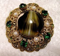 Vintage Art Glass Rhinestone Faux Pearl Brooch от luvintage