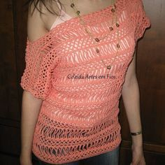 Peach BroomStick Lace Top free crochet graph pattern