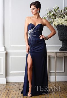 Long blue prom dress with side beading