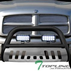 Topline Autopart Matte Black HD Heavyduty Bull Bar Brush Push Front Bumper Grill Grille Guard w/ Chrome Skin Plate + 36W Cree LED Fog Light Lamp 02-05 Dodge Ram 1500 / 03-09 2500 3500. For product info go to:  https://www.caraccessoriesonlinemarket.com/topline-autopart-matte-black-hd-heavyduty-bull-bar-brush-push-front-bumper-grill-grille-guard-w-chrome-skin-plate-36w-cree-led-fog-light-lamp-02-05-dodge-ram-1500-03-09-2500-3500/