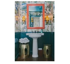 Wallpaper with glossy wainscoting in hall bathroom