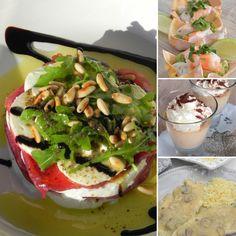 Menú Navideno 3: cestitas de wonton con guacaomle, cangrejo y langostinos; timbal de burrata y carpaccio; escalopines de pollo con salsa de setas y manzana y panna cotta de turrón