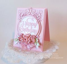 Card Making Ideas by Teresa Horner for www.amazingpapergrace using Amazing Paper Grace by Spellbinders Layered Happy Birthday, Tiara Rondelle and Cinch and Go Flowers III