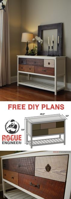 Rogue Engineer | Build a Reclaimed Wood Console Table | Free and Easy DIY Project and Furniture Plans