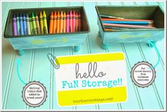 DIY storage bins using vintage loaf pans and paint!  So cute!! {Northern Cottage}