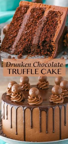 """This Drunken Chocolate Truffle Cake is made with a moist chocolate cake recipe, chocolate truffle filling & chocolate frosting – all infused with chocolate liqueur for a delicious """"drunken"""" cake! Chocolate Truffle Cake, Chocolate Liqueur, Chocolate Truffles, Chocolate Desserts, Chocolate Frosting, Chocolate Chocolate, Baking Chocolate Cake, Chocolate Filling, Cake Baking"""