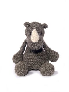 Crochet Animal Patterns: Amigurumi toy stuffed gray grey rhino rhinoceros white horn  animal designs.  February 2015