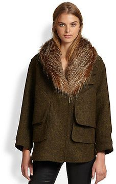 Smythe Flak Faux-Fur Trim Jacket on shopstyle.com