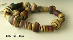 Glass Lampwork Beads Sunset Cliffs by Catalina by catalinaglass, $38.00