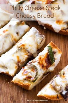 Philly Cheese Steak Cheesy Bread - easy cheesy bread with Philly cheese steak topping! Great snack or dinner idea!